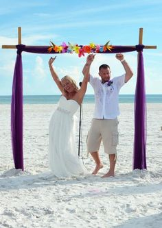 Love the excitement from this bride and groom at their purple beach wedding and married by www.siestakeyweddings.com #purplebeachwedding #purplewedding #destinationwedding #siestakeywedding #siestakeyweddings