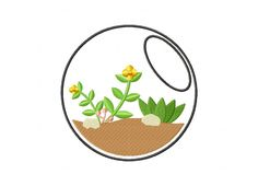 Terrarium Bowl Machine Embroidery Design