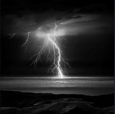 Lightning storms in Woodside, California, USA