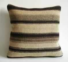 A pillow covered with an antique kilim (a kind of a rug). Its made of woo, goat hairl. Colored with natural dyes. It has Anatolian and Middle Eastern Great Rooms, Goats, Hand Weaving, Pillow Covers, Sweet Home, Throw Pillows, Dyes, Antiques, Middle