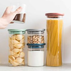 Conveniently store all your pantry items and add a dose of versatility to your kitchen by choosing this BergHOFF Leo Covered Container Set and Scoop. Glass Storage Containers, Glass Food Storage, Food Containers, Kitchen Storage, Thermal Flask, Pots, Glass Kitchen, Deco Design, Cleaning