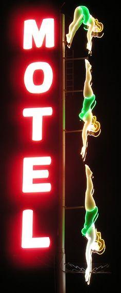 Retro neon motel sign.
