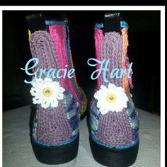 Customised crochet covered shoes made by Gracie Hart for Hart & Sole designs