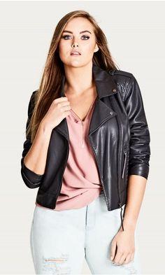 dc566e01d90 Shop Women s Plus Size Whip Stitch Biker Jacket