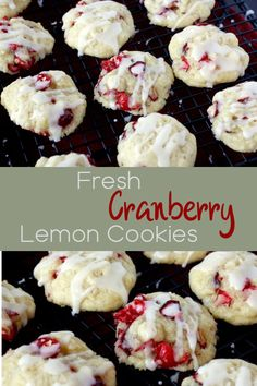 These cranberry lemon cookies are made with fresh cranberries and topped with a sweet lemon glaze! Cranberry Lemon Recipes, Lemon Cranberry Muffins, Cranberry Dessert, Cranberry Cookies, Best Sugar Cookie Recipe, Cookie Recipes, Dessert Recipes, Nutella Biscuits, Easy Smoothie Recipes