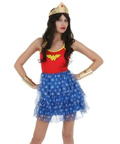 Wonder Woman Mini Skirt Dress: It's time to fight crime, girl! This mini skirt style dress is made of 100%… #TShirts #CustomShirts #BandTees