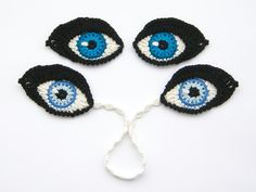 (4) Name: 'Crocheting : Crochet Eyes Applique and Bookmark