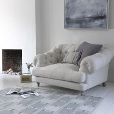 This deep buttoned beauty, the Bagsie love seat, is a seriously cool take on a classic Chesterfield. This sumptuous love seat is handmade in Blighty. Take A Seat, Love Seat, My Living Room, Living Spaces, Thatched House, Upholstered Arm Chair, Gray Sofa, Cool Chairs, Apartment Living