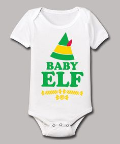 Look at this #zulilyfind! White & Green 'Baby Elf' Bodysuit - Infant #zulilyfinds