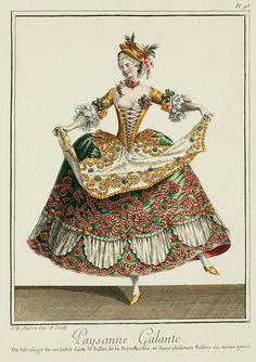 1779 Paysanne Galante: On fait usage de cet habit dans le Ballet de la Provencale, et dans plusieurs Ballet du même genre.