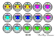 """Lot of 15 1"""" Digital Bottle Cap Images Native American (NA 042) by Henhoptreasures on Etsy"""