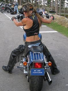 Biker chick... This is what I want to look like when I'm on my bike...One day!
