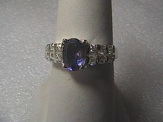 Unknown Sterling Silver 0.51 carats Cubic Zirconia Purple Lolite Ring 3.0 grams