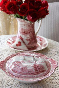 red roses & red & white transferware ~ carolyn aiken, aiken house & gardens ~ prince edward island
