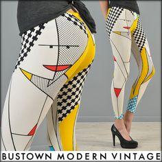 Vtg 80s Avant Garde Pop Art Faces Graphic Lichtenstein Spandex Legging Pants