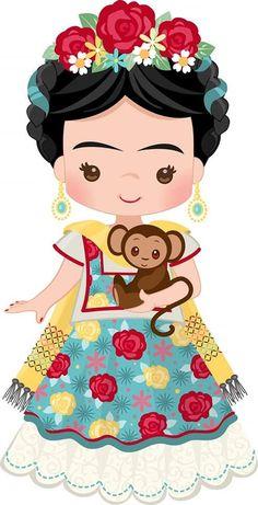 Art Drawings For Kids, Cute Drawings, Frida Kahlo Cartoon, Images Noêl Vintages, Frida Art, Mexican Folk Art, Cute Illustration, Cute Wallpapers, Cute Art