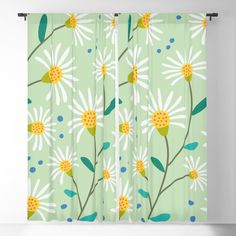 White Spring Flowers on Green Blackout Curtain by peladesign Blackout Windows, Blackout Curtains, Window Curtains, White Springs, Spring Flowers, Invite, Alternative, Relax, Sun