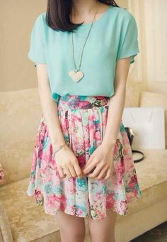 Floral skirt w/ minty top