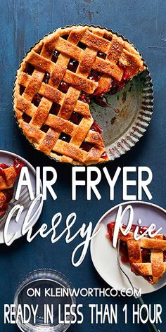 Light and flaky pie crust filled with sweet cherry pie filling made easily in the air fryer, no oven required. Serve with vanilla ice cream on the side. Cheesecake Desserts, Frozen Desserts, Easy Desserts, Delicious Desserts, Cold Desserts, Best Dessert Recipes, Fruit Recipes, Baking Recipes, Potluck Recipes
