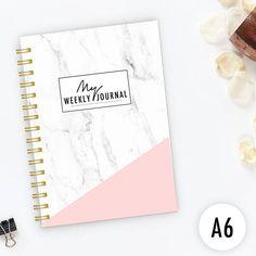 Weekly Journal spiral notebook Writing journal undated a6