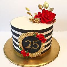 Absolutely in love with how this cake turned out:) the red and gold have my heart going😍😍😍 Elegant Birthday Cakes, 25th Birthday Cakes, Birthday Cakes For Women, Birthday Cake Girls, Pretty Cakes, Cute Cakes, Beautiful Cakes, Amazing Cakes, Striped Cake