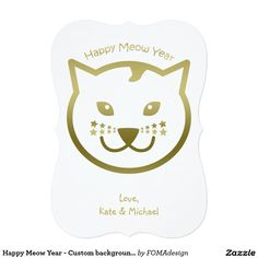 Happy Meow Year Faux Gold Cat Face and Stars - Custom background color 5x7 Paper Invitation Card, by FOMAdesign