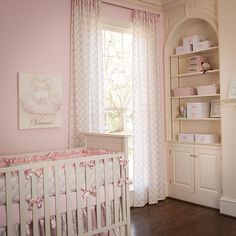 Drapery Panel in Pink and Taupe Damask by Carousel Designs.