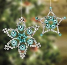"""""""beaded christmas ornaments by Lensia"""" ignore the link, leads to spammy looking site. Just keeping it for image idea for gifts. Beaded Christmas Decorations, Christmas Ornaments To Make, Snowflake Ornaments, Beaded Ornaments, Christmas Snowflakes, Christmas Jewelry, Handmade Christmas, Holiday Crafts, Christmas Crafts"""