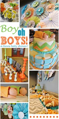 Orange, Blue, Green Birthday Party Ideas | Baby shower table, Baby ...
