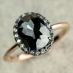 2.5 Carat Black Diamond Stormy Halo Engagement Ring, 14k Rose Gold