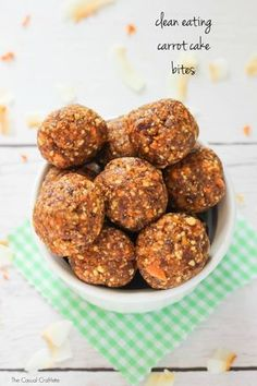 Clean Eating Carrot Cake Bites - raw no bake energy bites made with simple, all-natural ingredients. No added sugar and they taste just like carrot cake. (400 grams dates, walnuts, 2 tbsp coconut oil)