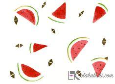 Pattern de frutas en acuarela, realizados con tres únicos colores: el color rojo, el negro, el verde. El color blanco es el del propio fondo del papel #acuarela, #watercolor, #sandia