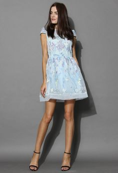 Blue Fairy Embroidered Organza Dress - New Arrivals - Retro, Indie and Unique Fashion