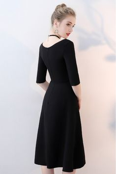 Shop Simple Black Aline Knee Length Party Dress with Sleeves online. SheProm offers formal, party, casual & more style dresses to fit your special occasions. Party Dresses With Sleeves, Dresses For Work, Long Bridesmaid Dresses, Bridesmaids, Half Sleeves, Fashion Dresses, High Neck Dress, Prom, Fancy
