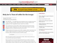 Holy Joe's: Tons of coffee for the troops - http://www.myrecordjournal.com/news/wallingford/3141234-154/holy-joes-tons-of-coffee-for-the-troops.html