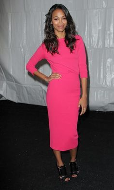 Zoe Saldana stunned in this hot pink number at the Michael Kors show at New York Fashion Week