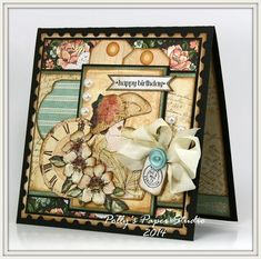 Ginny created this gorgeous A Ladies' Diary card with beautiful fussy cut imagery, layered tags, ribbons and more! #graphic45 #cards
