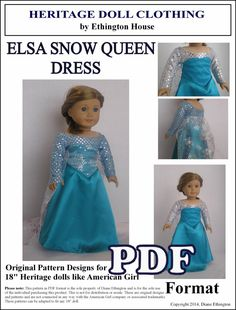 Elsa The Snow Queen, Frozen - PDF  Dress Pattern for American Girl Doll INSTANT DOWNLOAD on Etsy, $4.00