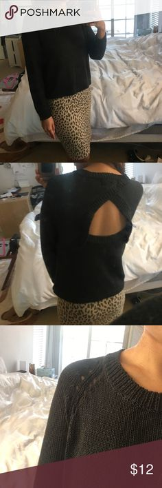 Charcoal open back sweater Touching is soft and cool . It is s/s sweater. Open back placement is upper bra line . Sweaters Crew & Scoop Necks