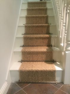 Sisal, sea grass and coir carpets look rustic and charming as a stair runner. Complete the look with stair rods with a choice of finials. All available at Floor Factory, Derby. Stair Runner Rods, Staircase Runner, Stair Rods, Stair Runners, Cottage Stairs, House Stairs, Carpet Stairs, Hall Carpet, Carpet Runner On Stairs