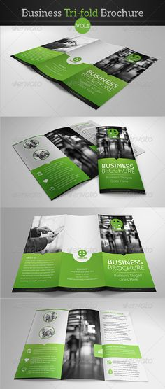 "Business Tri-fold Brochure  #graphicriver I like the blend of curved/circular vs. straight/square and I like the ""invasion"" or overlap into other spaces of this design.  I love creative coloring outside of the lines."