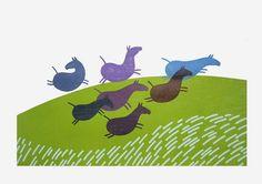 Titel: Paarden op hol. 9 kleuren houtdruk, oplage 4. Formaat: 100 x 70 cm, 2012.