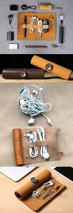Leather Roll Up Style Cable Travel Organizer For Cable Earphone Charger Cord Organization, Travel Organization, Leather Accessories, Phone Accessories, Diy Pencil Case, Headphone Holder, Leather Roll, Cable Organizer, Leather Products