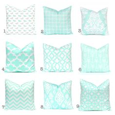 SALE Mint Pillow Covers Mint Green and White by FestiveHomeDecor