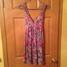 Sundress Beautiful, fun, colorful sundress. Stops above the knee. Size: L/XL. Worn maybe twice. Perfect condition. Tag cut off due to itching. Dresses Mini