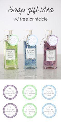Soap gift idea with free printable on iheartnaptime.net #giftideas