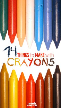 Look what you can make with crayons! Check out this amazing list of things to make with crayons! You can upcycle old crayon pieces or turn whole crayons into fun DIY projects, crafts, and recipes for play. Includes ideas for kids, teens, and adults. Crafts For Teens To Make, Fun Diy Crafts, Cool Diy Projects, Arts And Crafts, Craft Projects For Adults, Art Projects, Kids Diy, Kids Crafts, Art Diy