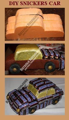 Geschenk Vatertag: Really unique Fathers day present idea - Snickers car tutorial - Handmade Father's Day Gifts, Diy Father's Day Gifts Easy, Homemade Fathers Day Gifts, Fathers Day Presents, Father's Day Diy, Fathers Day Crafts, First Fathers Day Gifts, Chocolate Bouquet Diy, Chocolate Car