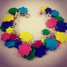 Special gifts online, one of our signature fimo charm bracelets. Cute gift ideas and treats @ http://www.specialgiftsonline.co.uk/  #womensfashion #charmbracelets #specialgiftsonline #armcandy #fimo #jewelry #flowerpower #boho