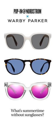 What's summertime without sunglasses? Introducing Pop-In@Nordstrom x Warby Parker, featuring a crop of limited-edition sunglasses (and more!), available online and at select Nordstrom locations until September 6. Shop now>